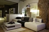 foto of interior  - modern living room with design furniture - JPG