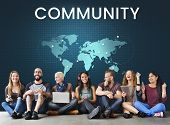 People connected to global communication online community poster