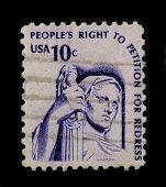 USA-CIRCA 1960:A stamp printed in USA shows image of the right to petition is guaranteed by the Firs