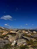 stock photo of colorado high country  - Colorado High Country mountains with blue sky and clouds - JPG