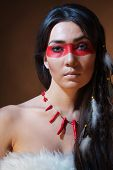 foto of american indian  - American Indian with paint face camouflage  - JPG