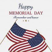 Happy Memorial Day. Greeting Card With Flag On Background. National American Holiday Event. poster