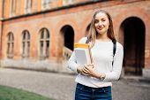 Female College Student. Happy Girl In European University For Scholarship. poster