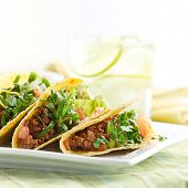 picture of tacos  - a platter of three beef tacos - JPG