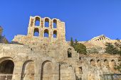 pic of ares  - Odeon of Herodes Atticus in Athens and acropolis Greece - JPG