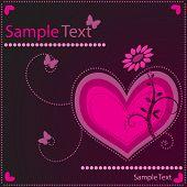 Постер, плакат: Вектор символ с цветами в форме сердца и природа фон Концепция: Роман