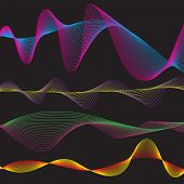 Raster - Illustration of a collection of waveform patterns in various colors