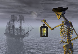 picture of pirate ship  - A skeleton pirate awaits the return of his ghost ship  - JPG