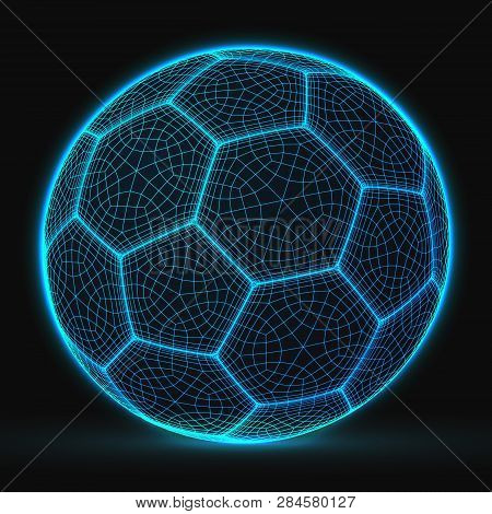 Poster: Cyberpunk Style Soccer Ball Lowpoly