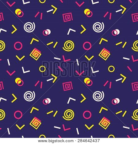 poster of Memphis Swiss Style Seamless Pattern. Flat Geometric Isolated Vector Pattern. Bright Fun Decorative