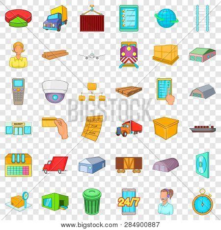 Big Warehouse Icons Set Cartoon