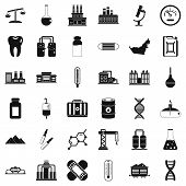 Chemical Industry Icons Set. Simple Style Of 36 Chemical Industry Icons For Web Isolated On White Ba poster