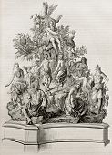 Parnassus representation, old illustration of a bronze model. After Titon du Tillet, published on Ma