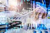 Double Exposure Businessman And Stock Market Or Forex Graph Suitable For Financial Investment Concep poster