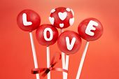 stock photo of cake pop  - Valentine pop cakes - JPG