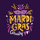 Mardi Gras Carnival. Hand Drawn Vector Lettering Phrase. Isolated On Violet Background. poster