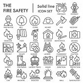 Fire Safety Line Icon Set, Emergency Symbols Collection, Vector Sketches, Logo Illustrations, Urgenc poster