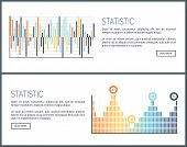 Statistics Charts And Diagrams Visual Data Web Vector. Webpage With Text Sample, Graphics And Scheme poster
