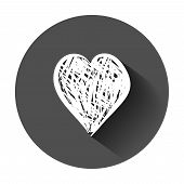 Hand Drawn Hearts Vector Icon. Love Sketch Doodle Heart Illustration With Long Shadow. Handdrawn Val poster