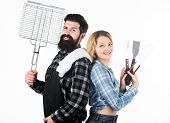 Barbecue Master. Bearded Hipster And Girl Ready For Barbecue Party. Roasting And Grilling Food. Coup poster