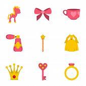 Princess Fairy Tail Icon Set. Flat Style Set Of 9 Princess Fairy Tail Icons For Web Isolated On Whit poster