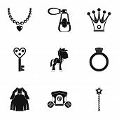 Princess Accessories Icon Set. Simple Style Set Of 9 Princess Accessories Icons For Web Isolated On  poster