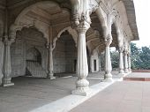 stock photo of khas  - Carved columns and arches of the Hall of Private Audience or Diwan I Khas at the Lal Qila or Red Fort in Delhi India - JPG