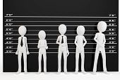 stock photo of lineup  - 3d man with police lineup wall on white background - JPG