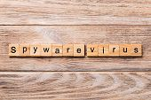 Spyware Virus Word Written On Wood Block. Spyware Virus Text On Wooden Table For Your Desing, Concep poster