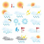 Weather Icons Set. Line Art Vector Simple Outlines Illustrations. Meteorological Infographics Signs. poster