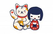Anime Manga Styled Vector Illustration: Kawaii Japanese Teen Girl And Maneki Neko Lucky Cat Isolated poster