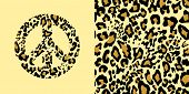 Animal wallpaper and hippie peace symbol with leopard gold print. Fashion design for t-shirt, bag, p poster