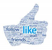 foto of  media  - Illustration of the thumb up symbol which is composed of words on social media themes - JPG