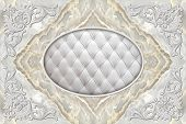 3d Ceiling Murals Wallpaper, Stucco Molding On Marble Background. 3d Ceiling, White Decor Frame, Eff poster