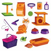 Pet Shop Icons Set. Cat Goods Vector Cartoon Illustration. Animal Food, Toys, Care And Other Stuff. poster