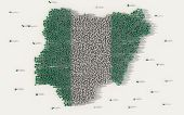 Large Group Of People Forming Nigeria Map And National Flag In Social Media And Communication Concep poster