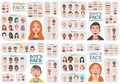 Woman, Man, Girl, Boy Character Constructors. From Housewife To Hipster. Cartoon Woman Face Parts Cr poster