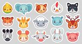 Cute Animal Stickers. Smiling Adorable Animals Faces, Kawaii Sheep And Funny Chicken Cartoon Vector  poster