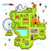 Amusement Park Map. Scheme Elements Attractions Festival Amuse Funfair Leisure Family Fairground Kid poster