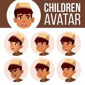 Arab, Muslim Boy Avatar Set Kid Vector. Primary School. Face Emotions. Emotions, Emotional. Fun, Che poster