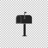 Mail Box Icon Isolated On Transparent Background. Mailbox Icon. Mail Postbox On Pole With Flag. Flat poster