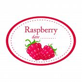 Raspberry  Label Vector Disign Isolated On White Background. Round Label poster