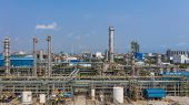 Chemical Plant, Chemical Factory, Industrial Plant With Blue Sky, Aerial View. poster