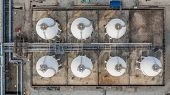 Tank Farm For Storage Of Oil, Gas And Petrochemical Products, Aerial View. poster