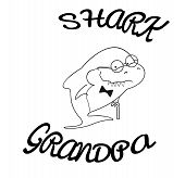 Family Sharks. Grandpa Shark With Cane And Bow Tie. Cute Cartoon Outline Of Sea Animals. Print For C poster