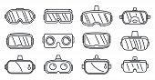 Video Game Goggles Icons Set. Outline Set Of Video Game Goggles Vector Icons For Web Design Isolated poster