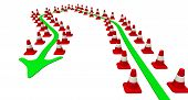 Movement By The Rules. The Trajectory Of Movement Is Limited By Road Cones. Isolated. 3d Illustratio poster
