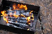 Flame From Burning Logs In Fireplace. Wood Fire Prepared For Grill. Bbq With Burning Firewood. poster