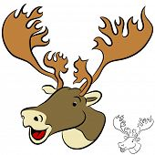 picture of caribou  - An image of a cartoon caribou face - JPG