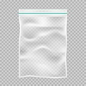 Transparent Polypropylene Plastic Packaging With Lock Or Zip. Transparent Empty Nylon Sack Food Pack poster